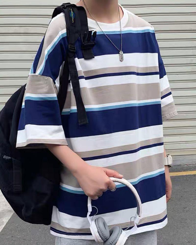 《3色》オーバーサイズランダムボーダーTシャツの画像4
