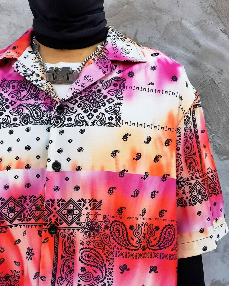 タイダイ柄ペイズリー半袖シャツの画像4