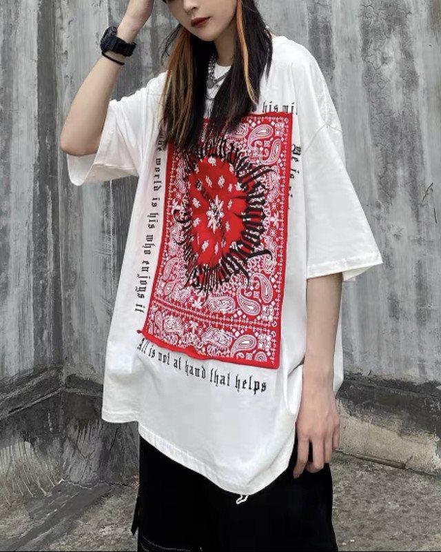 《3色》フラクトゥールバンダナ柄Tシャツの画像2