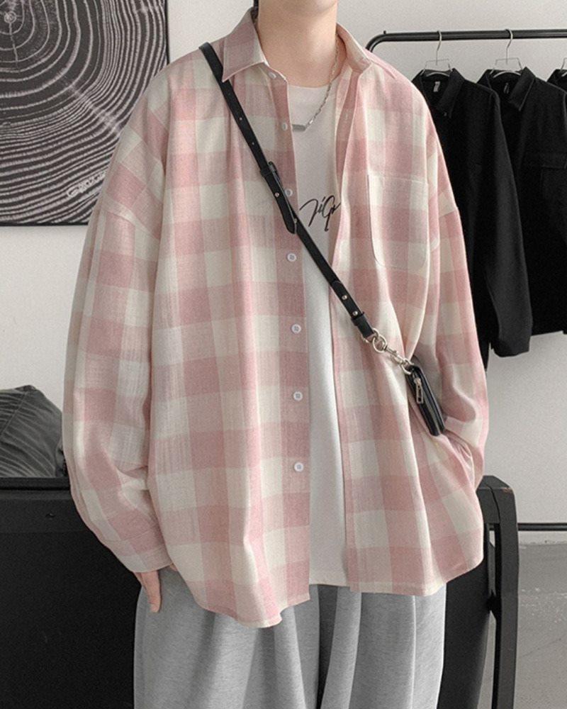 《2色》オーバーサイズギンガムチェック長袖シャツの画像3