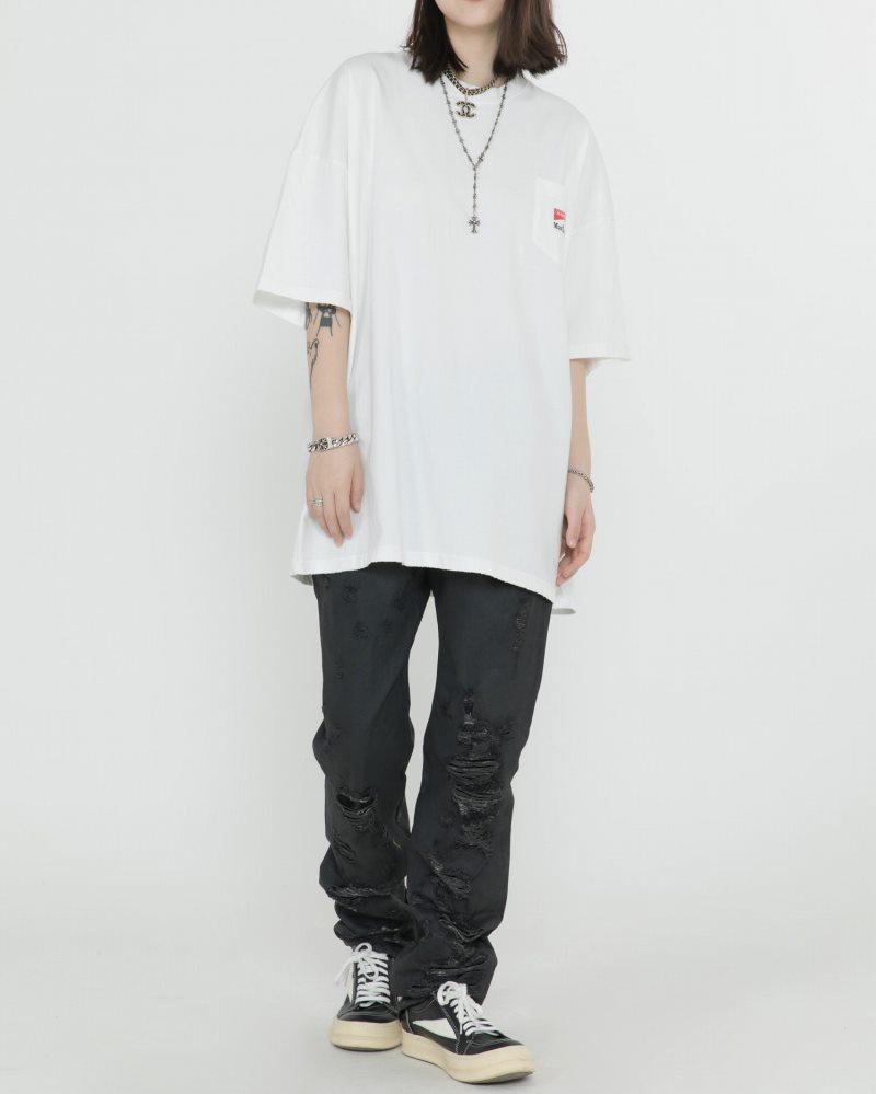 《2色》オーバーサイズリブダメージスネークTシャツの画像2