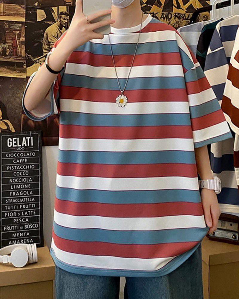 《2色》ビッグシルエットトリコカラーボーダーTシャツの画像3