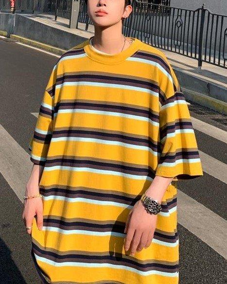 ビッグシルエットイエローボーダーTシャツの画像1