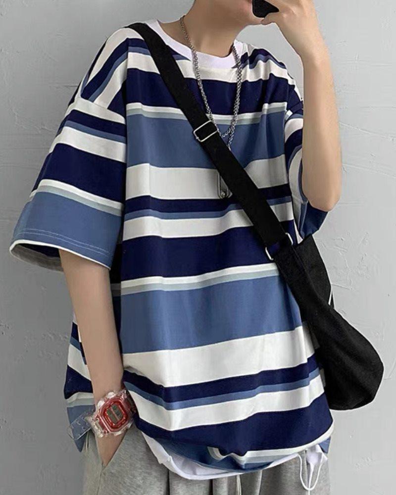 《2色》オーバーサイズマルチボーダーTシャツの画像1