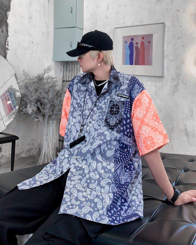 《2色》スリーパターンペイズリー半袖シャツの画像3