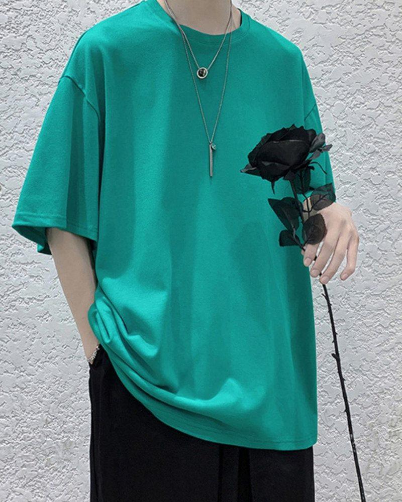《7色》オーバーサイズベーシックカラーTシャツの画像ターコイズ