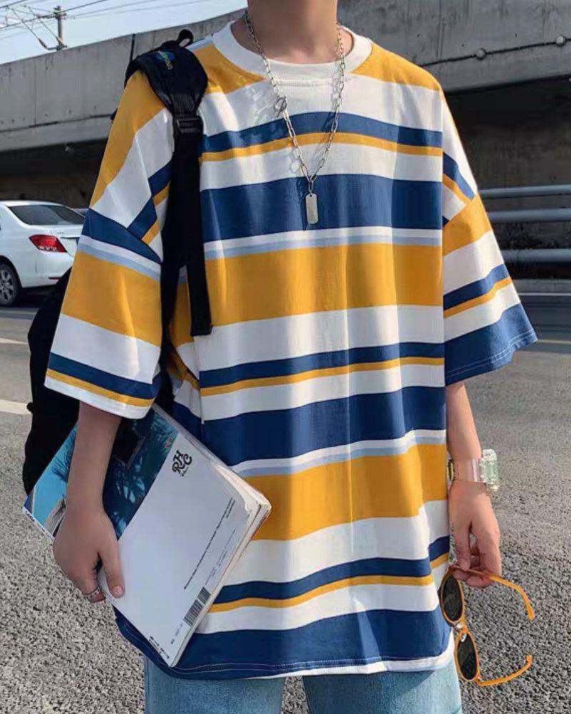 《3色》オーバーサイズランダムボーダーTシャツの画像6