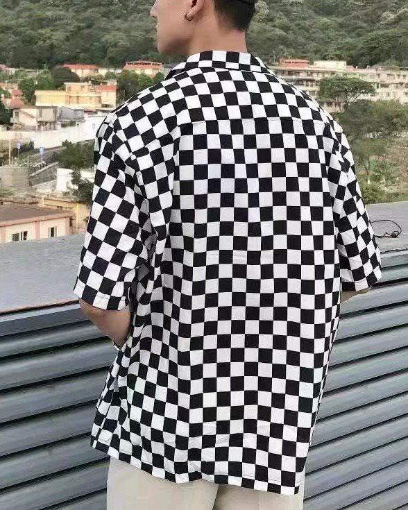 《2色》ブロックチェック半袖シャツの画像2