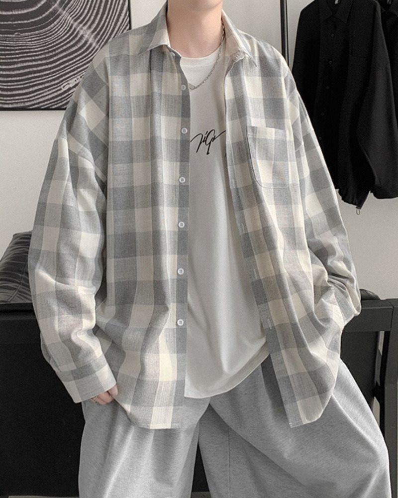 《2色》オーバーサイズギンガムチェック長袖シャツの画像4