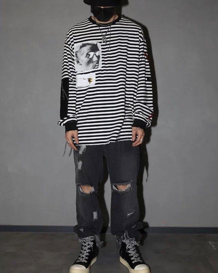 オーバーサイズダメージボーダーロングTシャツの画像5