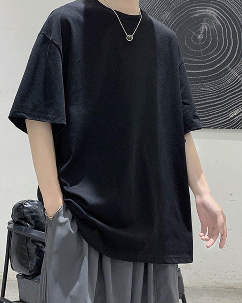 《7色》オーバーサイズベーシックカラーTシャツの画像ブラック