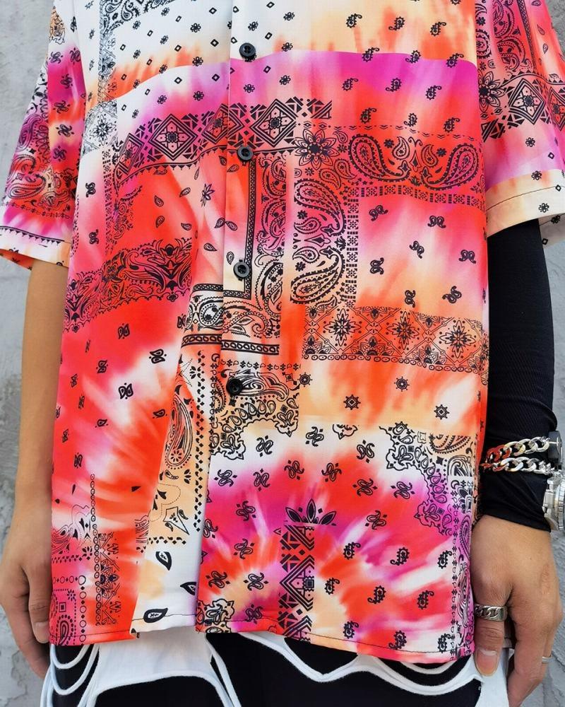 タイダイ柄ペイズリー半袖シャツの画像5