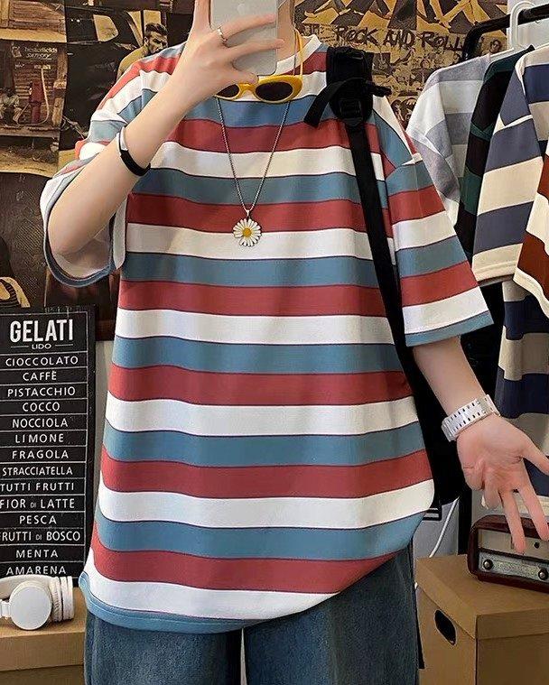 《2色》ビッグシルエットトリコカラーボーダーTシャツの画像2