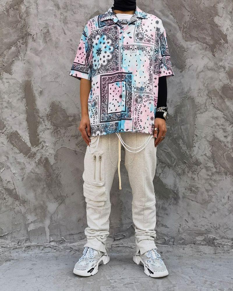 ペールカラーペイズリー半袖シャツの画像6