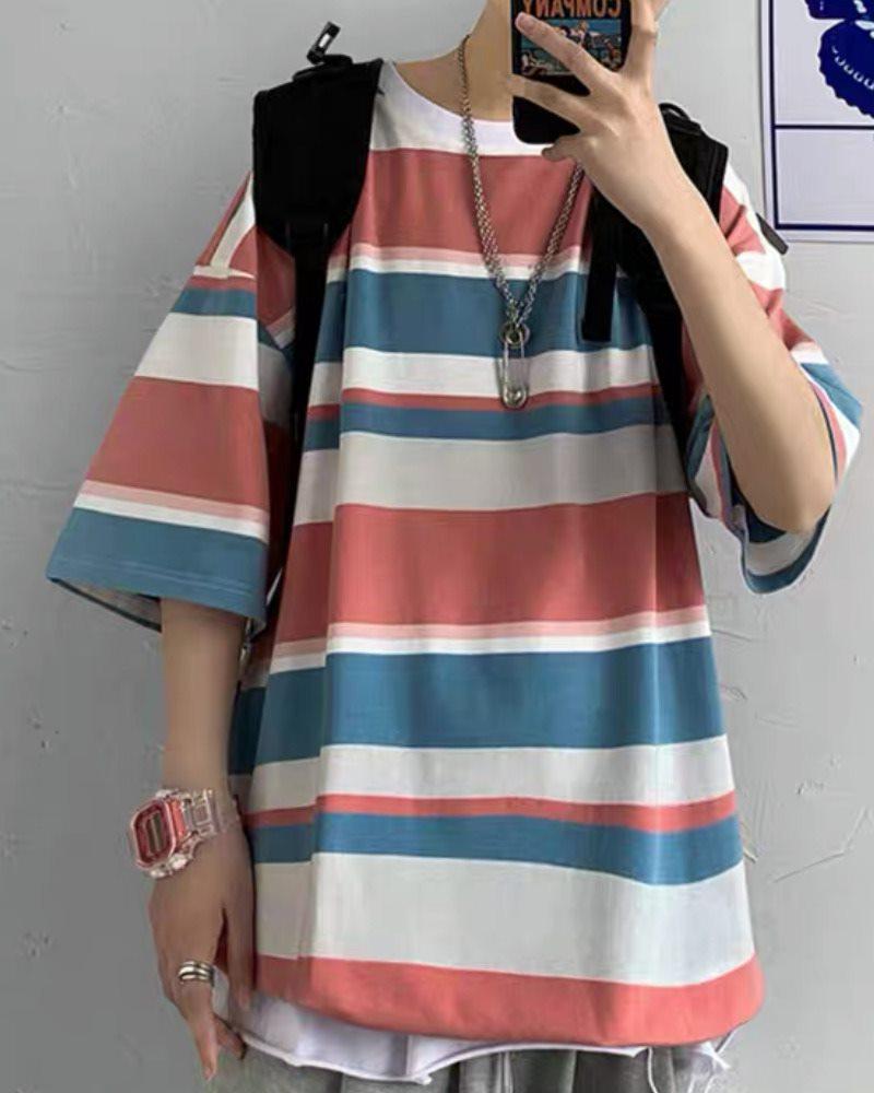 《2色》オーバーサイズマルチボーダーTシャツの画像4