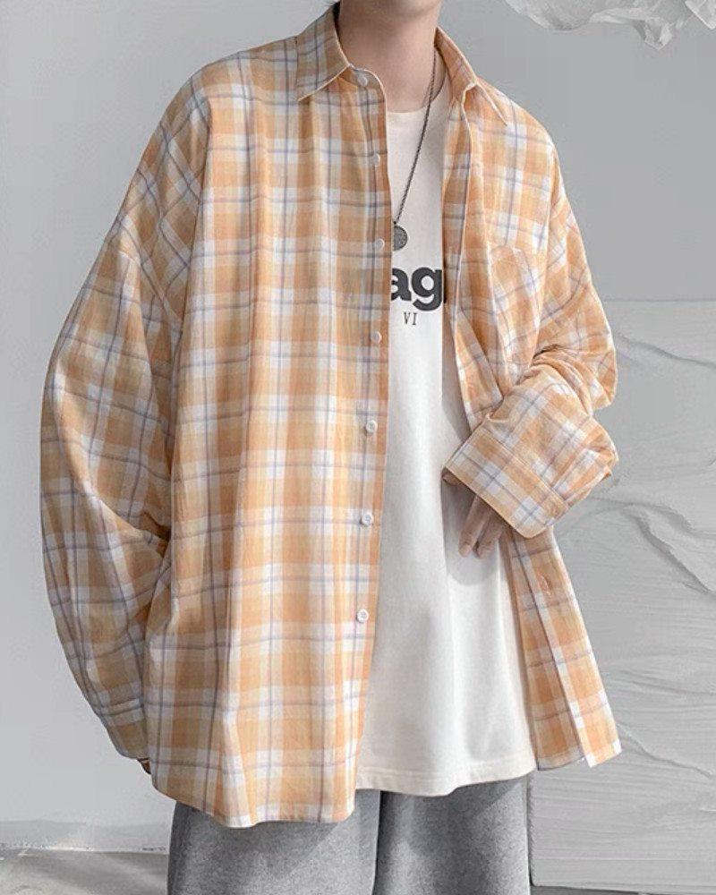 《4色》チェック柄長袖シャツの画像3