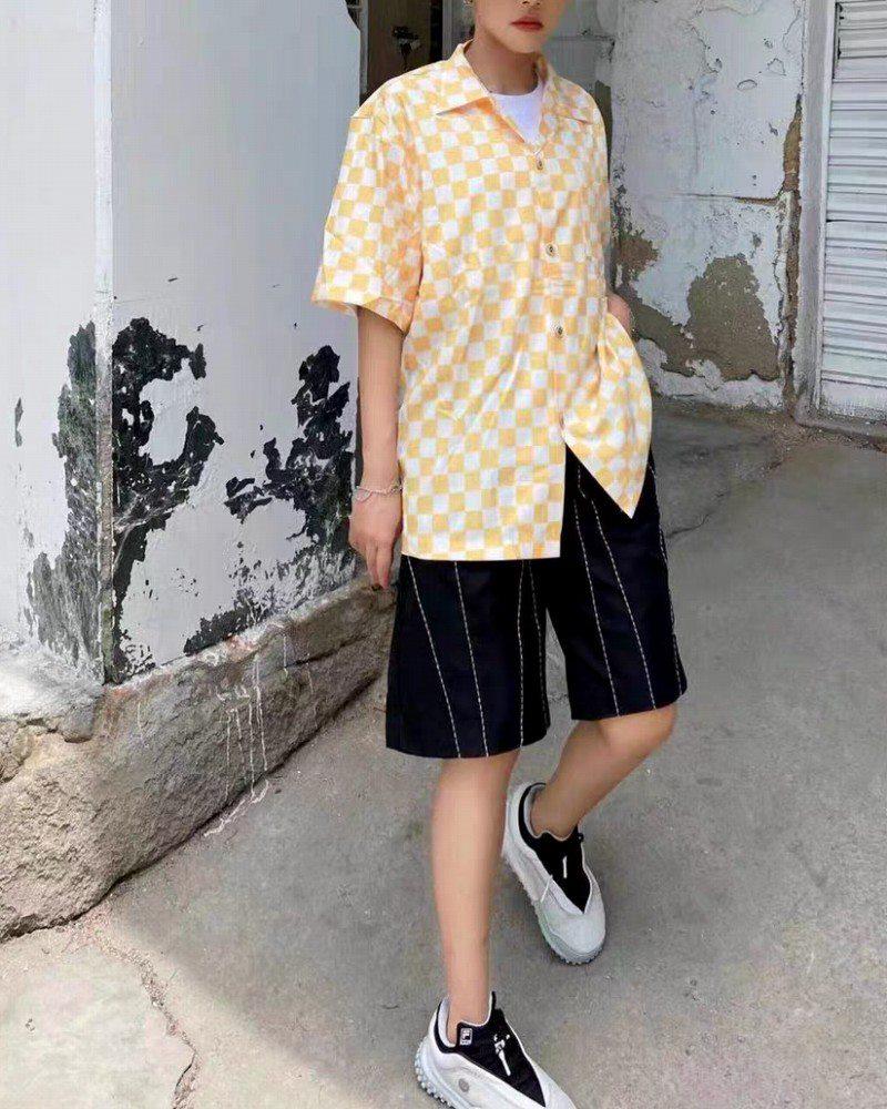 《2色》ブロックチェック半袖シャツの画像1