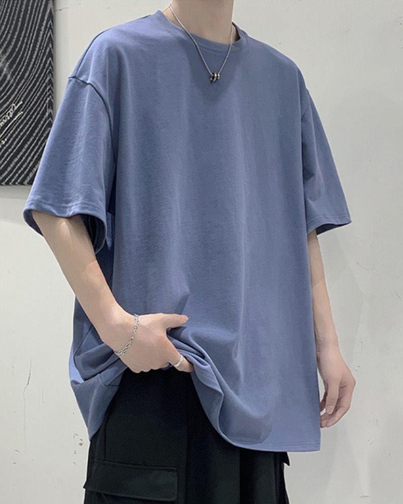 《7色》オーバーサイズベーシックカラーTシャツの画像ブルー