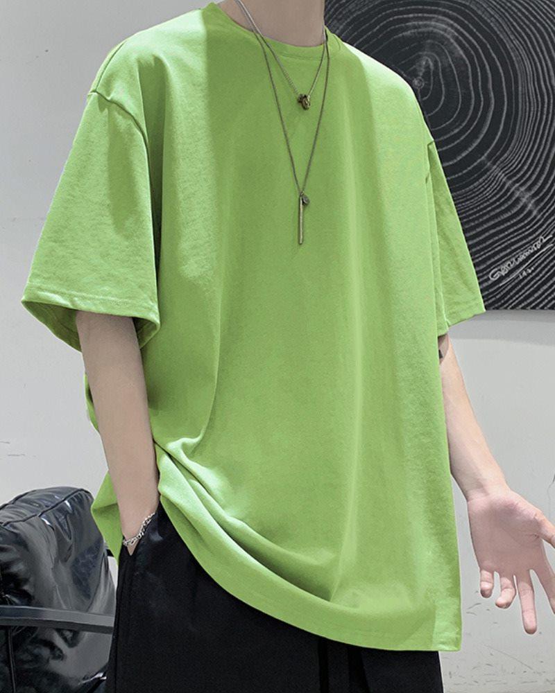 《7色》オーバーサイズベーシックカラーTシャツの画像グリーン