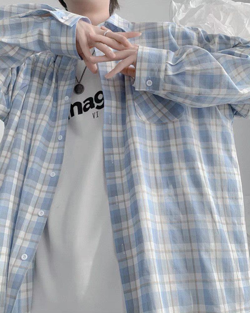 《4色》チェック柄長袖シャツの画像5