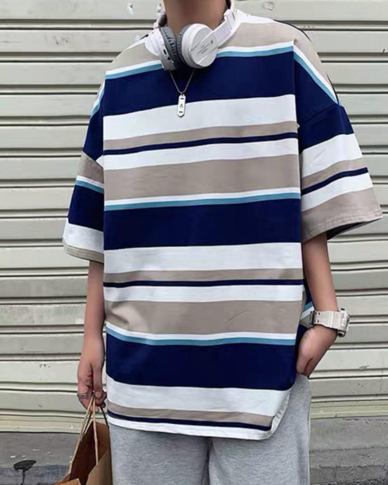 《3色》オーバーサイズランダムボーダーTシャツの画像1