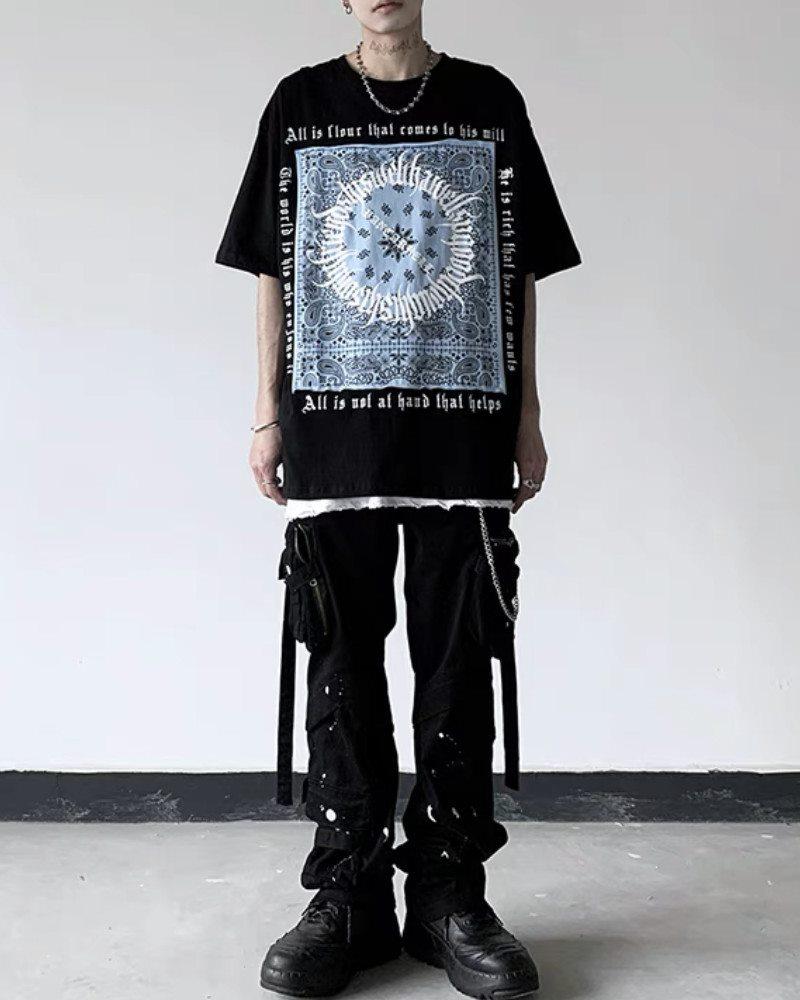 《3色》フラクトゥールバンダナ柄Tシャツの画像4