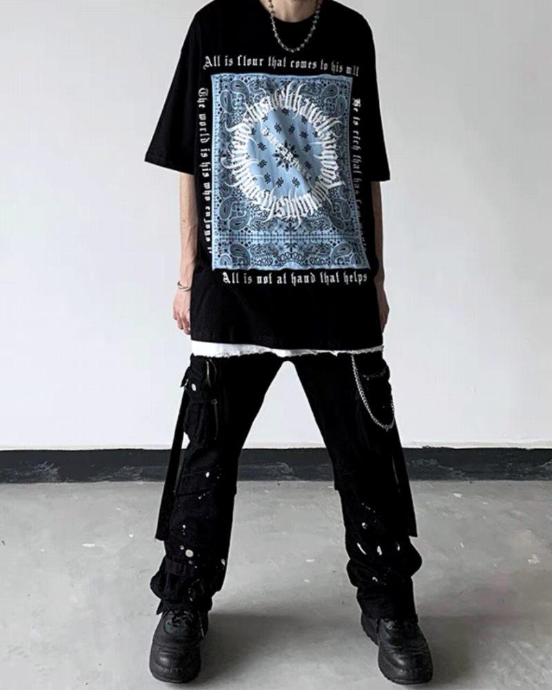 《3色》フラクトゥールバンダナ柄Tシャツの画像1