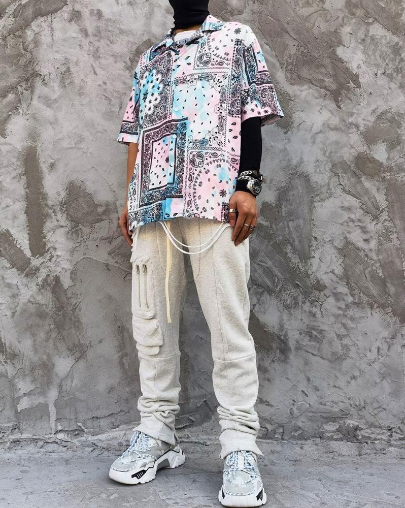ペールカラーペイズリー半袖シャツの画像2