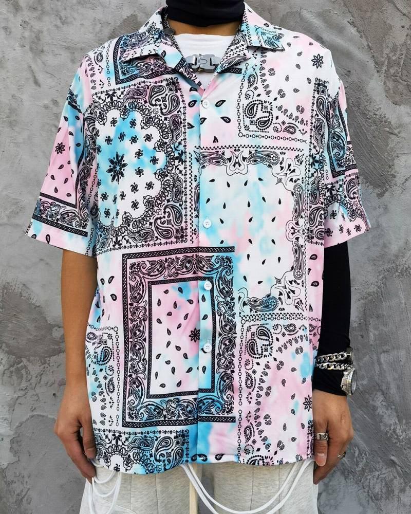 ペールカラーペイズリー半袖シャツの画像1
