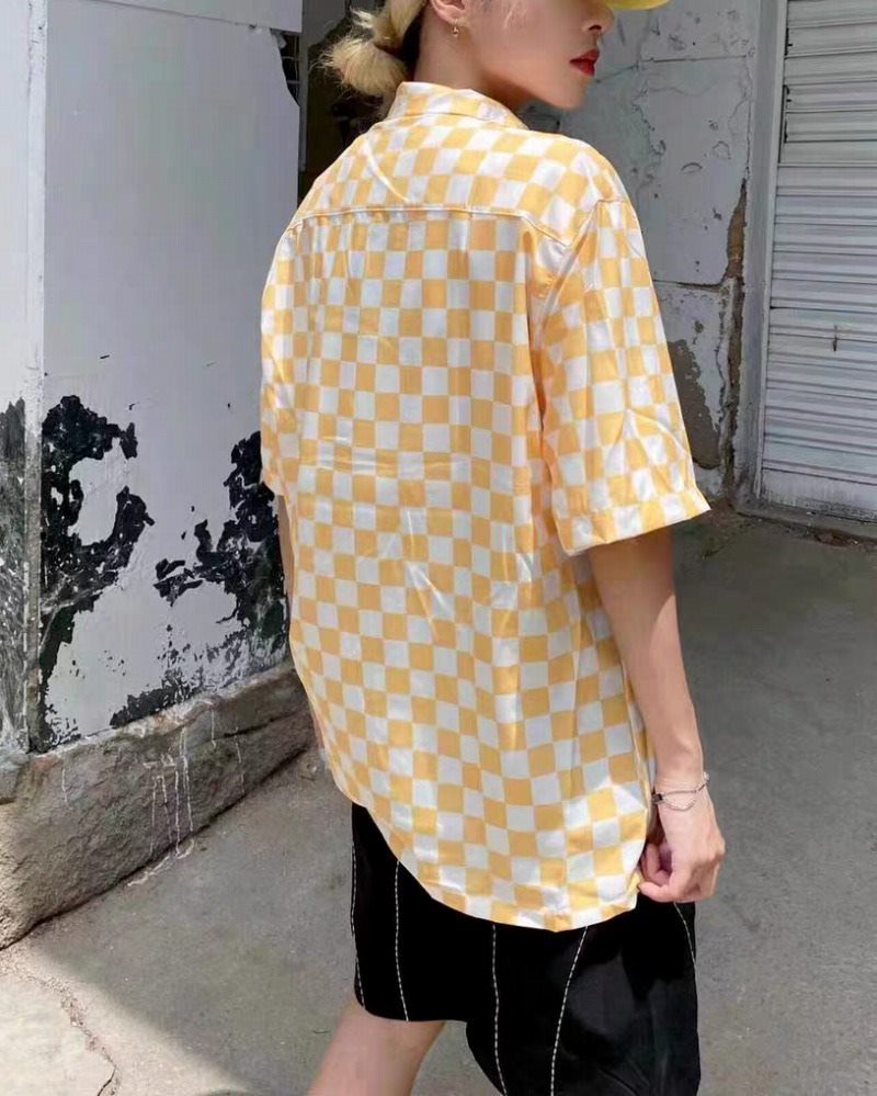 《2色》ブロックチェック半袖シャツの画像4