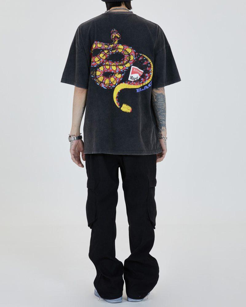 《2色》オーバーサイズリブダメージスネークTシャツの画像5