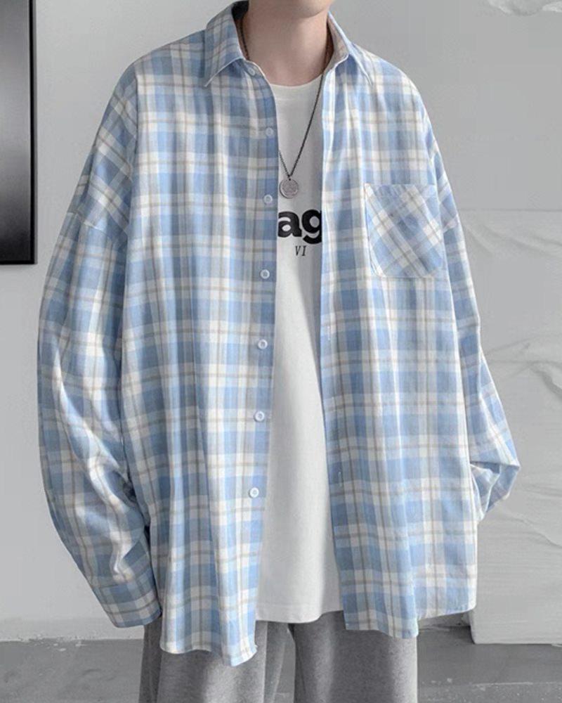 《4色》チェック柄長袖シャツの画像1