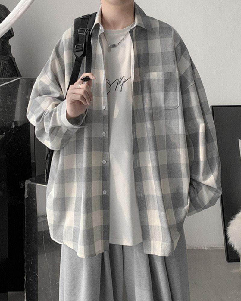 《2色》オーバーサイズギンガムチェック長袖シャツの画像1