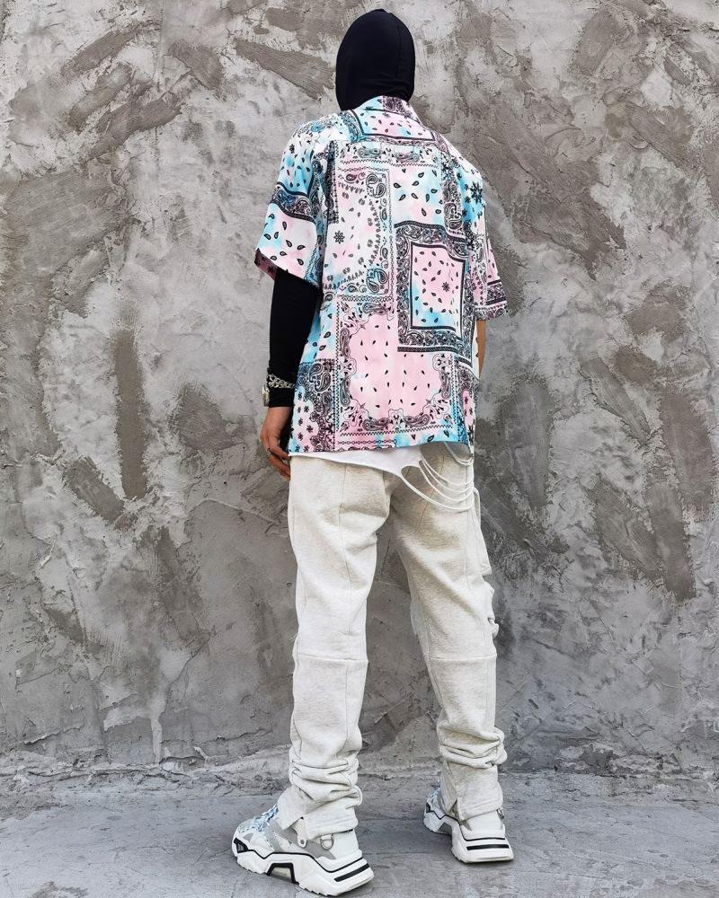 ペールカラーペイズリー半袖シャツの画像3