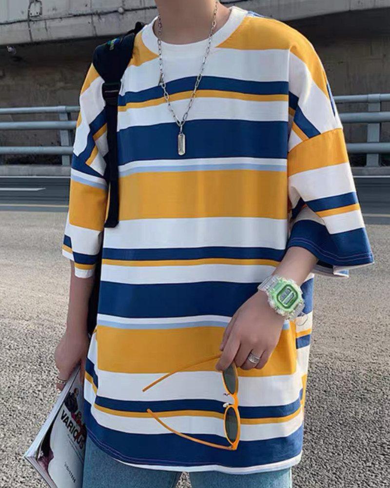 《3色》オーバーサイズランダムボーダーTシャツの画像3