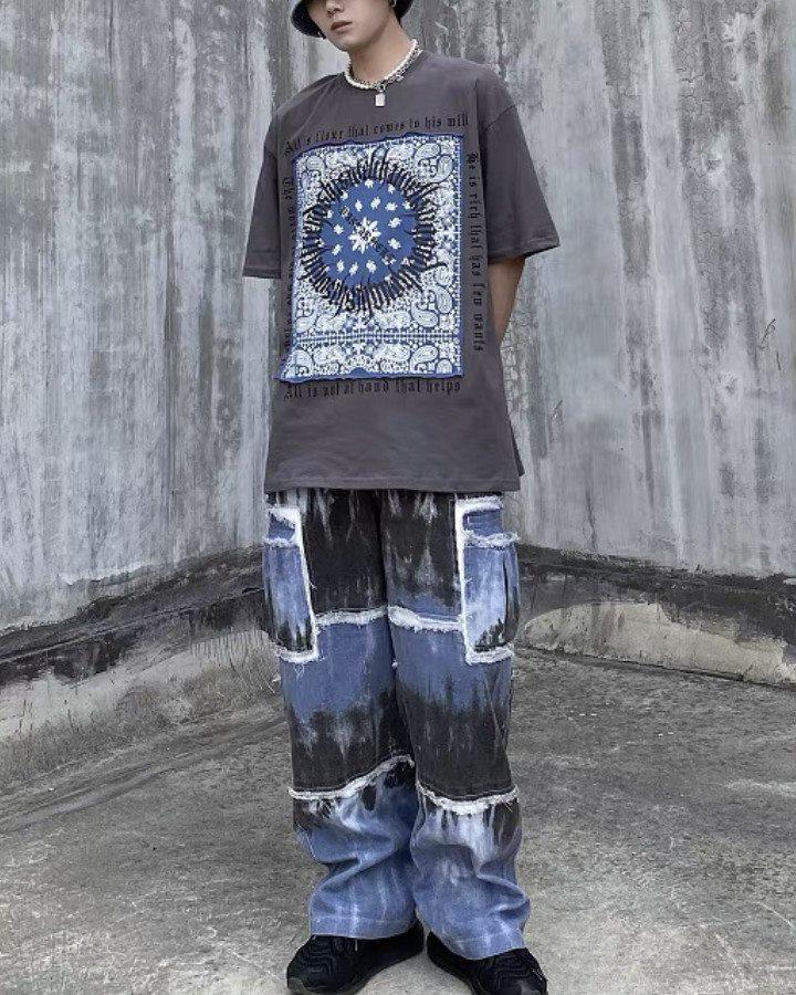 《3色》フラクトゥールバンダナ柄Tシャツの画像3