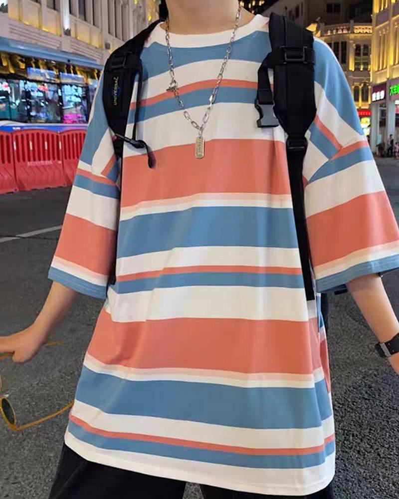 《3色》オーバーサイズランダムボーダーTシャツの画像5