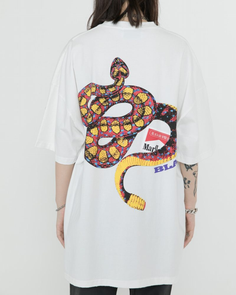 《2色》オーバーサイズリブダメージスネークTシャツの画像4