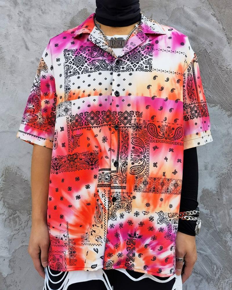 タイダイ柄ペイズリー半袖シャツの画像1