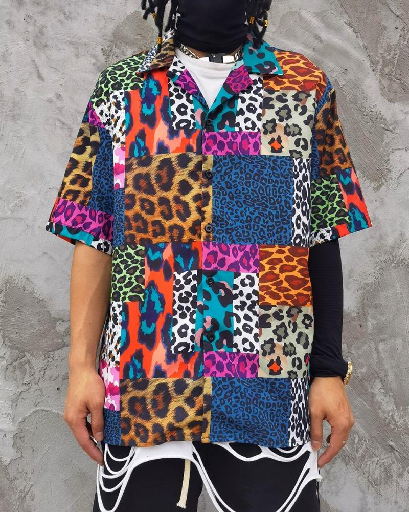 スーパーOBACHAN'Sマルチカラーレオパード半袖シャツの画像1