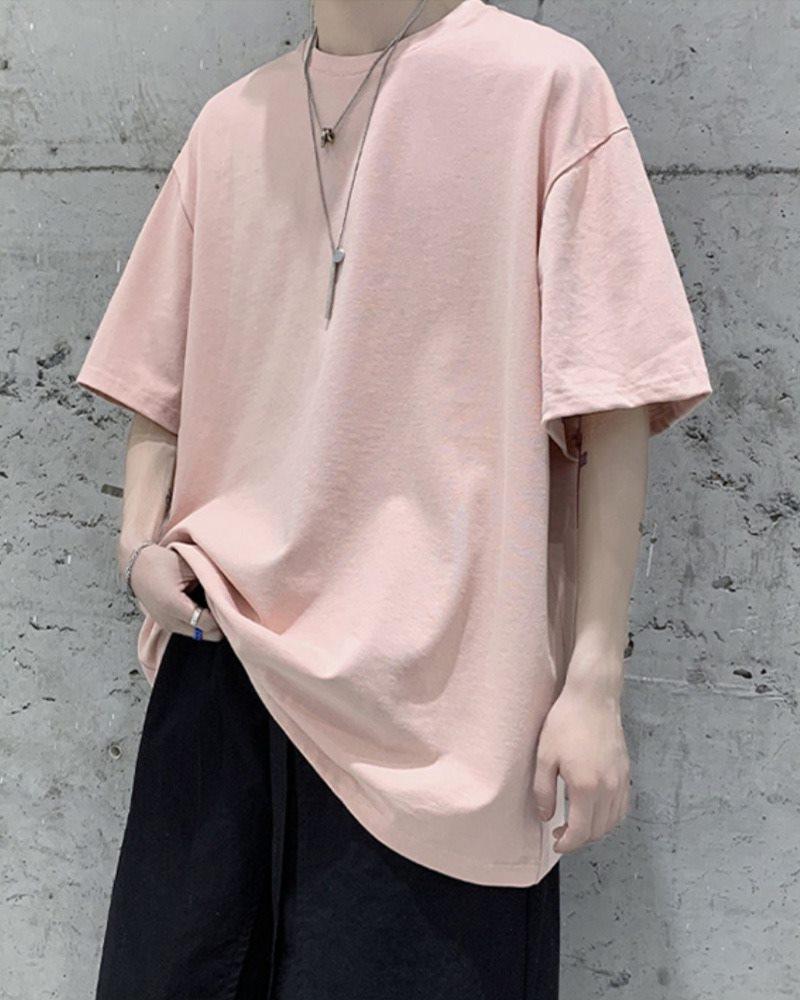 《7色》オーバーサイズベーシックカラーTシャツの画像ピンク