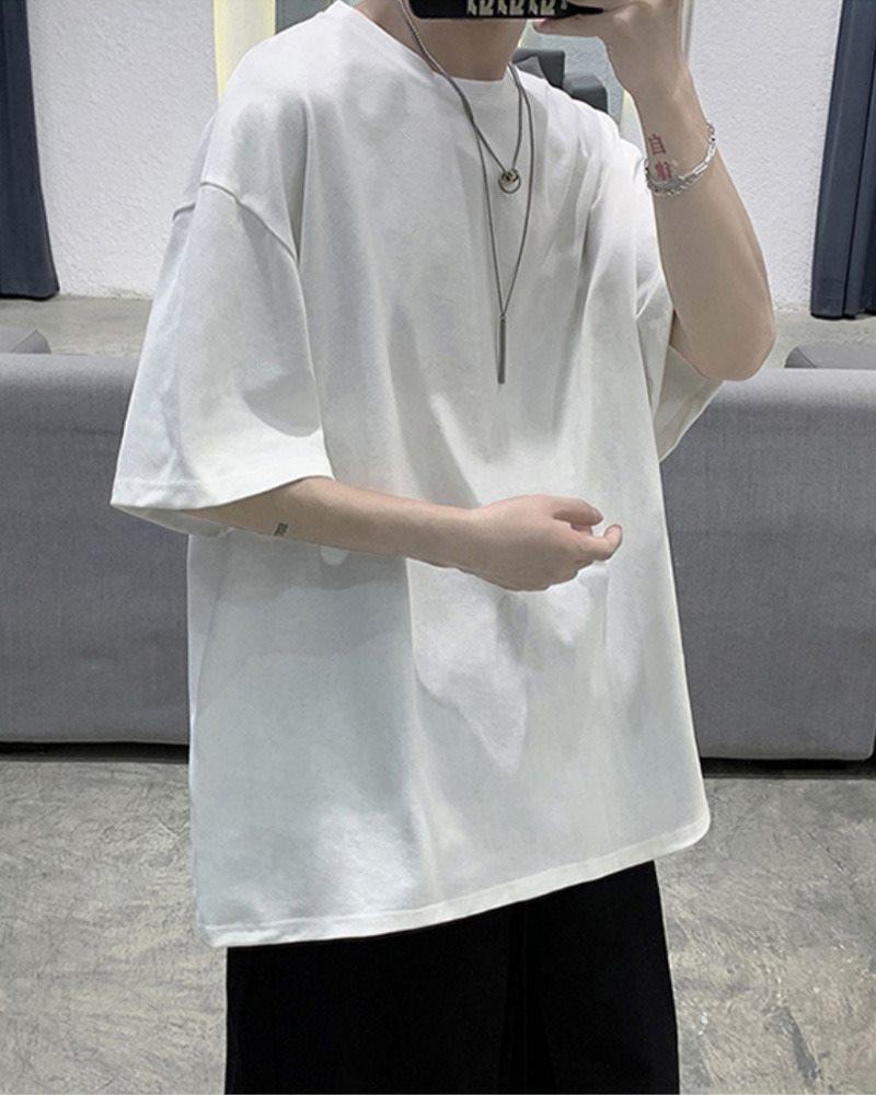 《7色》オーバーサイズベーシックカラーTシャツの画像ホワイト