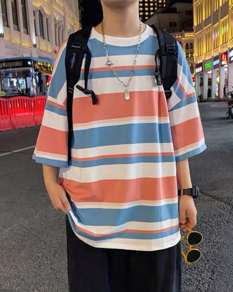 《3色》オーバーサイズランダムボーダーTシャツの画像2