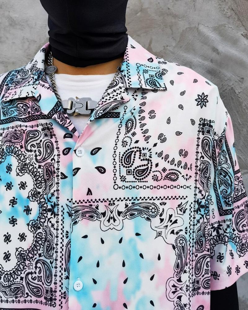 ペールカラーペイズリー半袖シャツの画像4