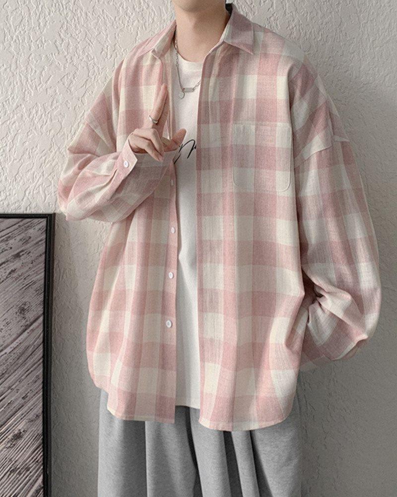 《2色》オーバーサイズギンガムチェック長袖シャツの画像2