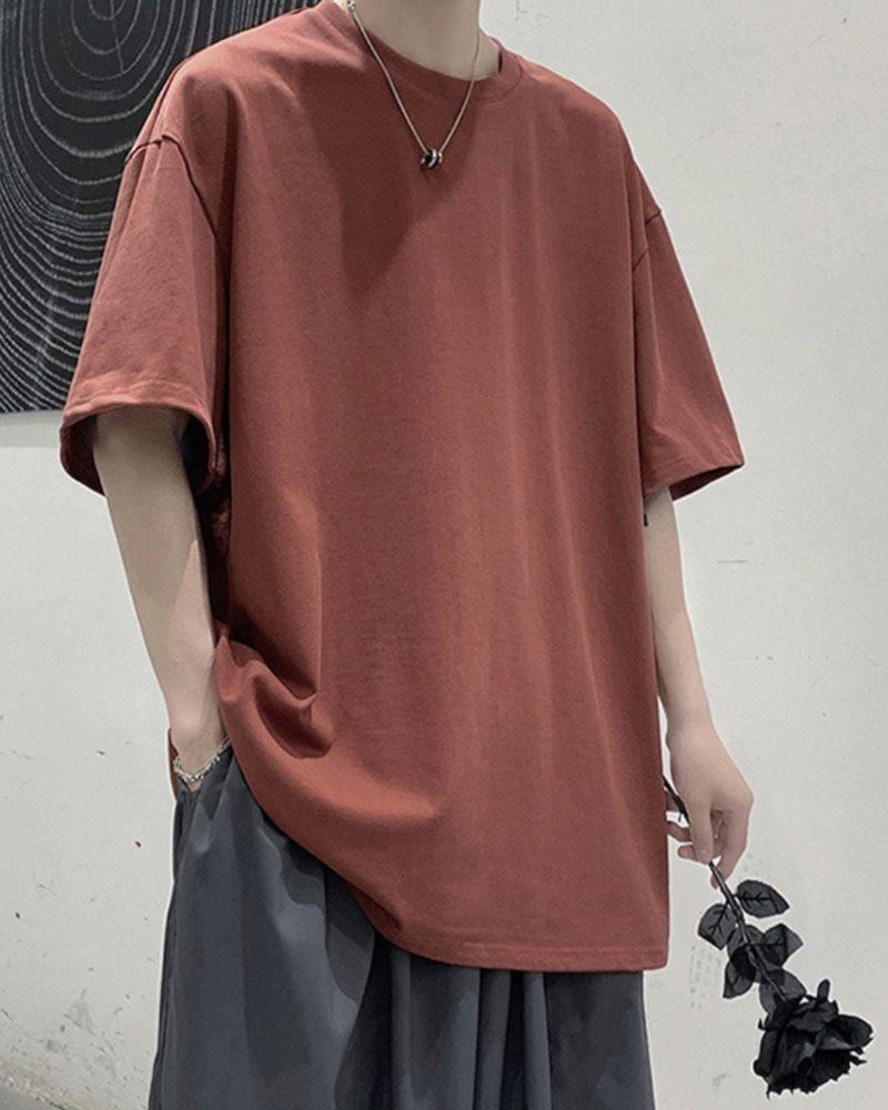 《7色》オーバーサイズベーシックカラーTシャツの画像レッド