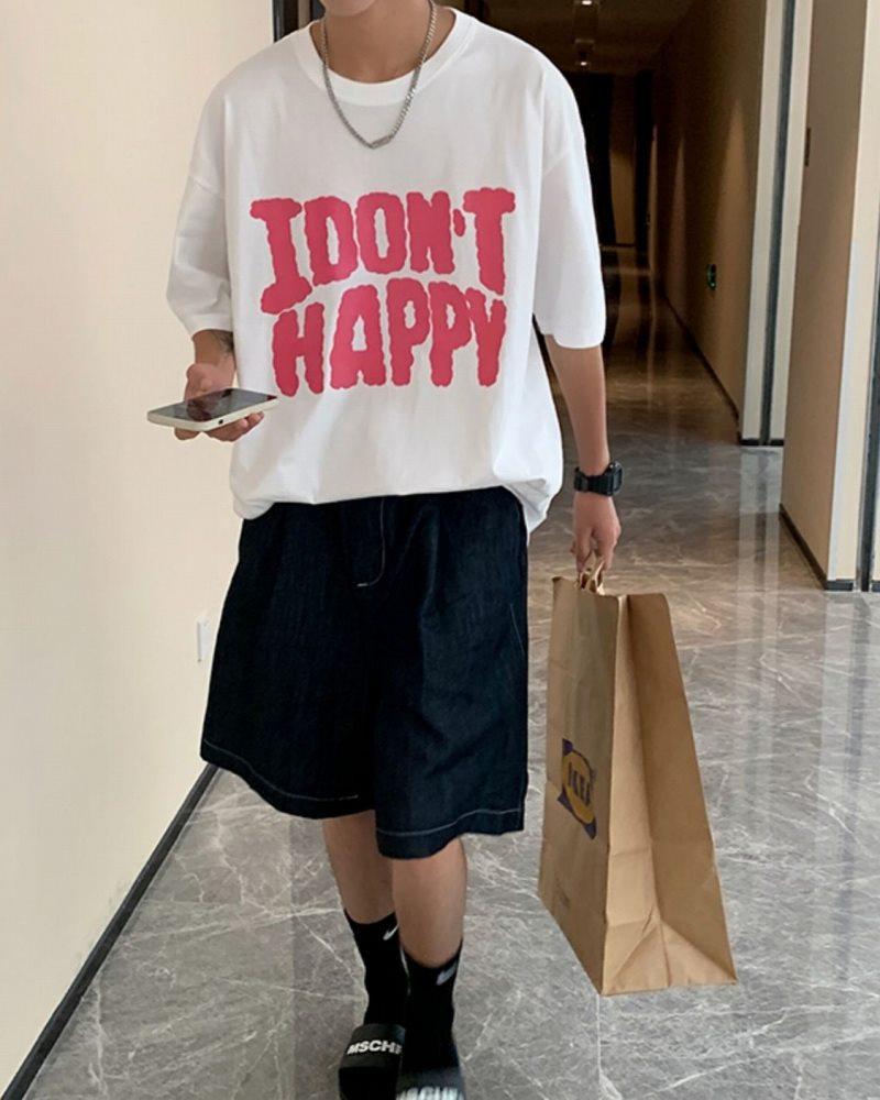 《2色》I DON'T HAPPY Tシャツの画像3