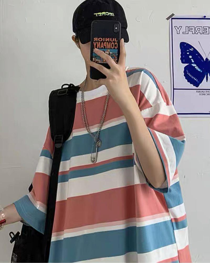 《2色》オーバーサイズマルチボーダーTシャツの画像2